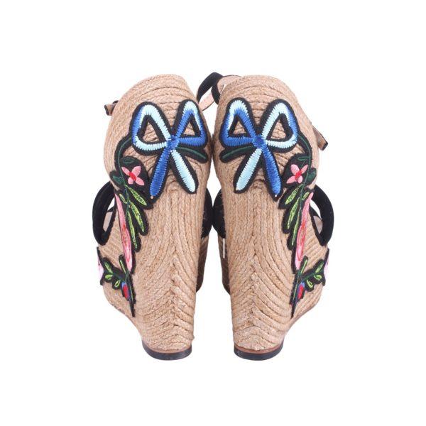 Gucci Geborduurde Suede Platform Espadrille achterkant