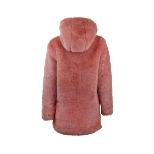 LPA faux fur roze jas - achterkant