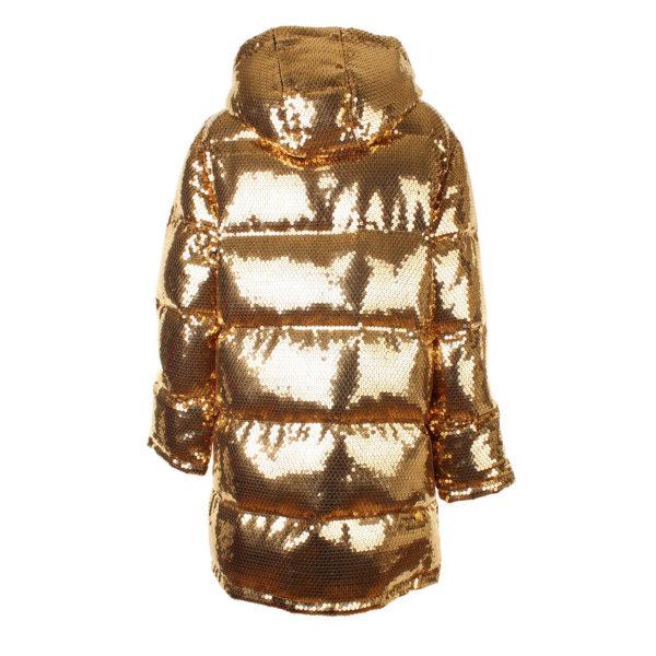 Moschino x H&M gouden puffer jacket (maat S) gouden pailetten - achterkant