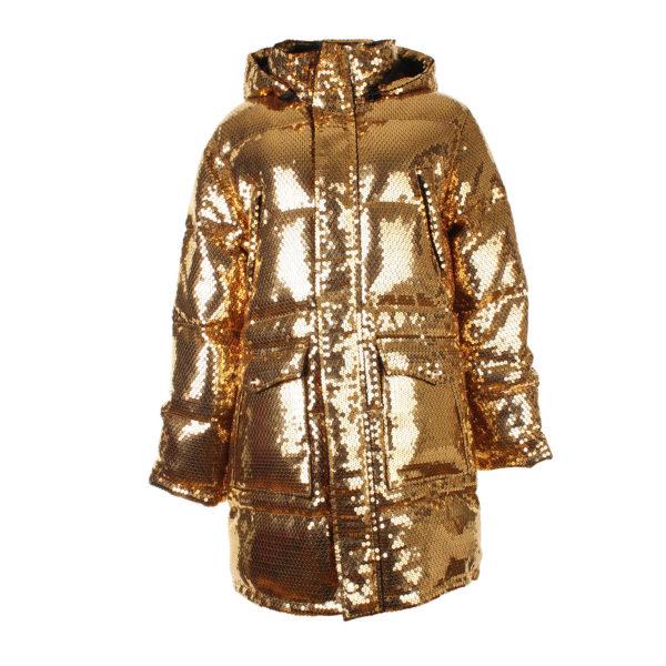 Moschino x H&M gouden puffer jacket (maat S) gouden pailetten - voorkant