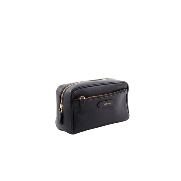 Tom Ford Front Zip Dopp Kit Toiletry Bag Leather Medium - achterkant
