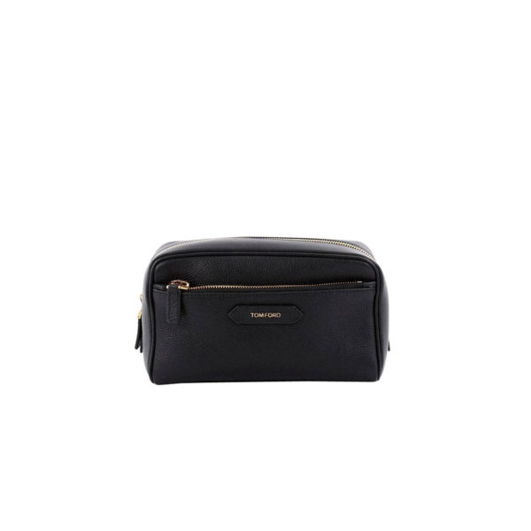 Tom Ford Front Zip Dopp Kit Toiletry Bag Leather Medium - voorkant