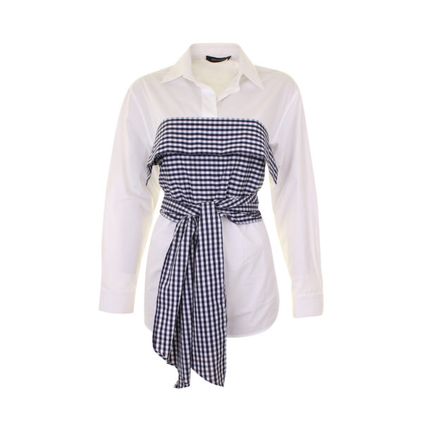 Cedric Charlier Gingham-Wrap Cotton Blouse - voorkant