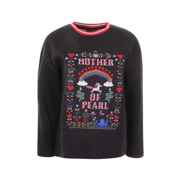 Mother of Pearl geborduurde sweater (maat S) - voorkant