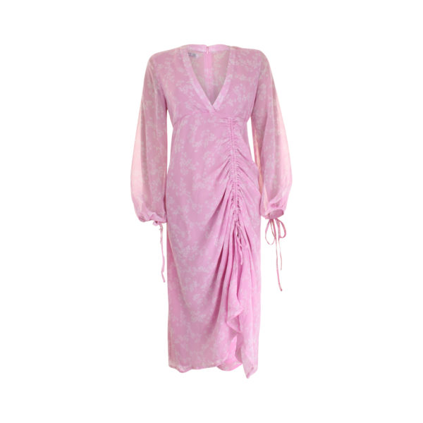 NA-KD Balloon Sleeve Drawstring Maxi Dress Pink (size L) - voorkant