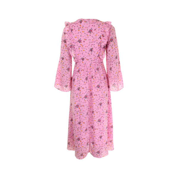 & Other Stories pink floral ruffles dress (maat S) - achterkant