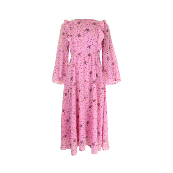 & Other Stories pink floral ruffles dress (maat S) - voorkant