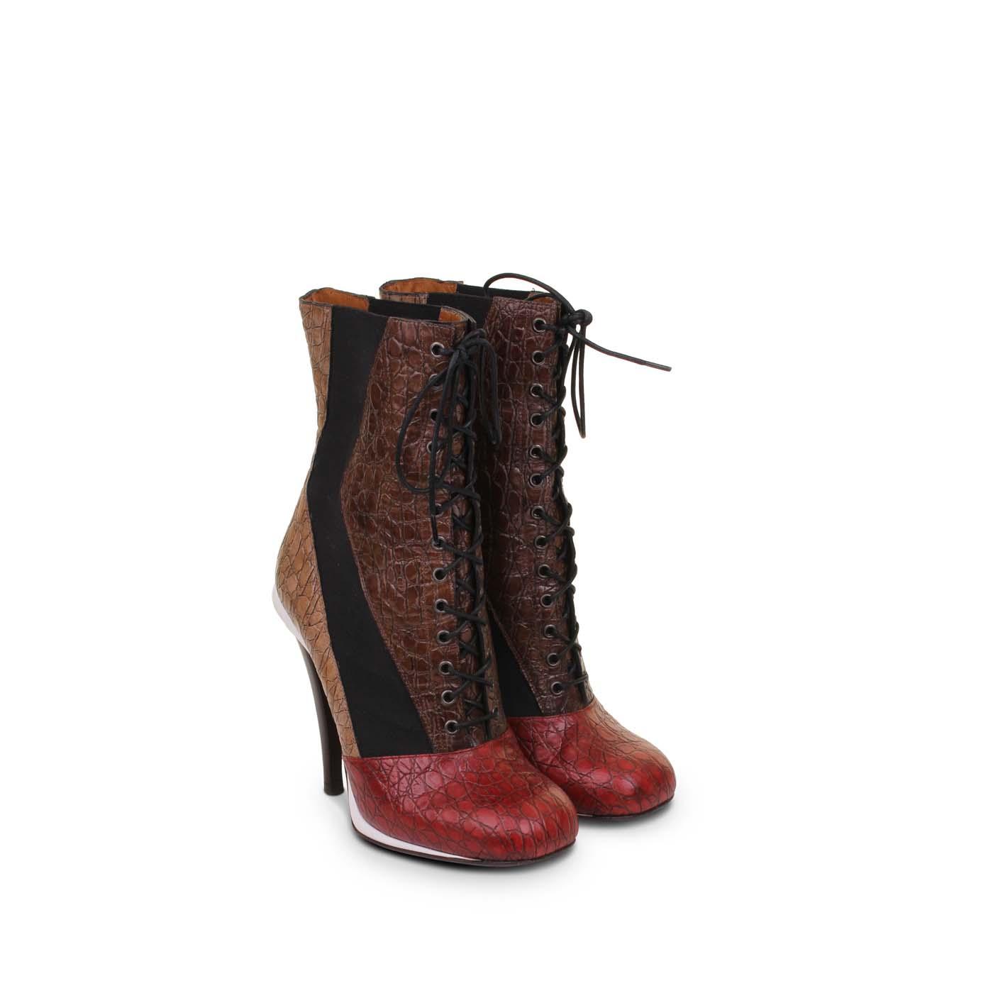 Alaïa Black Suede Lace Up Detail Ankle Boots Azzedine